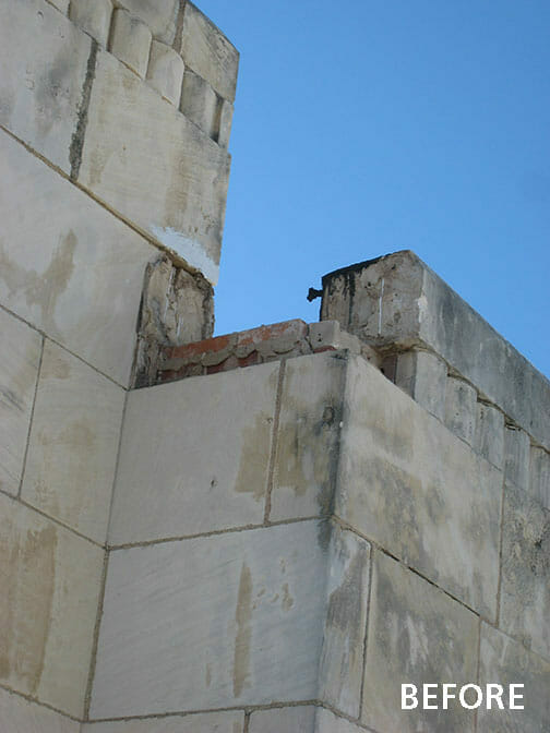 Jack county Courthouse Roofline showing needed repairs Before